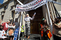 Dame Vivienne Westwood (English fashion designer, businesswoman and activist; largely responsible for bringing modern punk and new wave fashions into the mainstream, DBE, RDI).<br /> <br /> London, 08/05/2016. Today, &quot;Campaign Against Climate Change&quot; held a demonstration to protest against the policies of the British Conservative Government in tackling climate change and to accuse it of not supporting enough clean energy technology. Then protesters, activist and members of the public marched backward from Trafalgar Square to the Department of Energy and Climate Change, Downing Street, Department of Health (Opposite the Treasury). From the organisers Facebook page: &lt;&lt;No more UK backtracking on climate! Since May 2015 clean energy technology has been sidelined in favour of a dash for gas, insulation cut and fracking, roads and runways pushed through despite strong local opposition. So what better way to mark the government's one year anniversary than to march - backwards - down Whitehall? A creative and colourful protest that will make a serious point: we're running out of time to act on climate change, and we can't afford to go backwards. [&hellip;]&gt;&gt;. The demonstration was supported by: Art Not Oil, Biofuelwatch, Campaign for Better Transport, Client Earth, Climate Revolution, Fuel Poverty Action Group, Global Justice Now, Greenpeace, HACAN, Plane Stupid, Reclaim the Power, Solar Trade Association, Talk Fracking, Time to Cycle, War on Want, The Truth about Zane.<br /> <br /> For more information please click here: https://www.facebook.com/events/1694984727439786/?active_tab=highlights &amp; http://www.campaigncc.org/goingbackwards