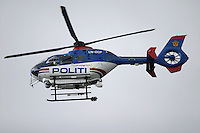 Disaster exercise in Oslo, with a scenario of a chemical tanker colliding with a bus. Police helicopter