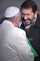 Pope Francis speaks with Rome's mayor Ignazio Marino after a prayer at the statue of Virgin Mary during the annual feast of the Immaculate Conception at Piazza di Spagna (Spanish Steps) in Rome on December 8, 2014.
