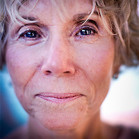 A portrait of Judy Rizzo who is a member of the Aquadettes at Laguna Woods, California. The Aquadettes are a group of women ageing from their early 60s upwards who meet to practice synchronised swimming. Every year, they practice together, they make costumes together, they swim together, and at the end, they perform together.