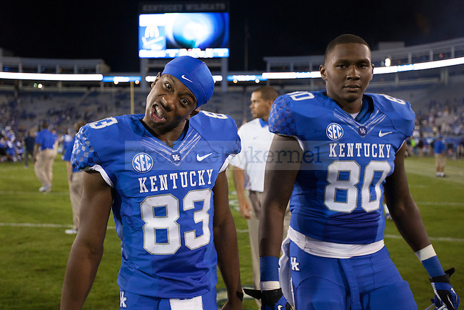 Demarcus Sweat, freshman wide reciever and Ronnie Shields, sophomore tight end aftering a win at the UK vs. Kent State football game at Commonwealth Stadium, Photo by Adam Chaffins
