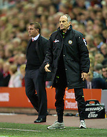 LIVERPOOL, ENGLAND - Thursday, October 4, 2012: Udinese Calcio's head coach Francesco Guidolin and Liverpool's manager Brendan Rodgers during the UEFA Europa League Group A match at Anfield. (Pic by David Rawcliffe/Propaganda)