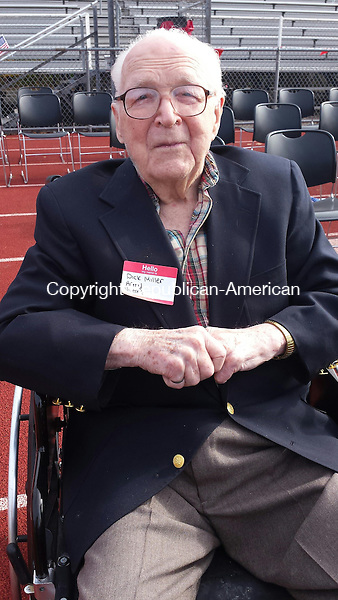 CHESHIRE, CT -  Nov. 11, 2014 - 11112014LX03 - Cheshire Veteran Dick Miller, who is 102, during a Veteran's Day ceremony at Cheshire High School on Tuesday.
