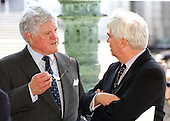 """Washingon, DC - May 4, 2000 -- United States Senators Edward M. """"Ted"""" Kennedy (Democrat of Massachusetts), left,  and Christopher Dodd (Democrat of Connecticut), right, share a private discussion prior to making statements on Kennedy's teacher quality amendment to the Elementary and Secondary Education Act (ESEA) reauthorization at a press conference at The Capitol on 4 May, 2000. .Credit: Ron Sachs / CNP"""