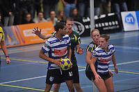 KORFBAL: GORREDIJK: Sport- en Ontspanningscentrum Kortezwaag, 27-11-2013, LDODK - AKC BLAUW WIT, Eindstand 25-28, Gerald van Dijk (#13   AKC), André Zwart (#15   LDODK), Betty Jansma (#9   LDODK), Mandy Koelman (#3   AKC), ©foto Martin de Jong