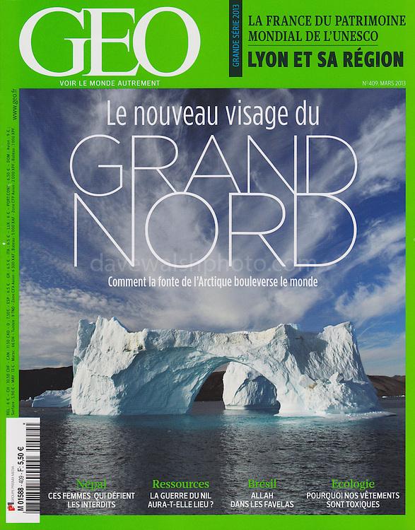 &quot;Le Nouvea visage du Grand Nord&quot; - my photograph of an iceberg in Nugatsiaq, Greenland, on the cover of the March 2013 GEO France magazine.<br /> <br /> &quot;Comment la fonte de l'Arctique bouleverse le Monde&quot; - &quot;How the melting Arctic upsets the World&quot;