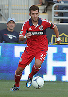 CHESTER, PA - AUGUST 12, 2012:   Gonzalo Segares (13) of the Chicago Fire during an MLS match against the Philadelphia Union at PPL Park, in Chester, PA on August 12. Fire won 3-1.