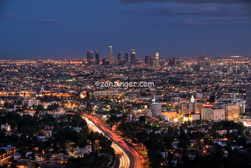 Los Angeles CA, Skyline, Night, Dusk, Sunset, Magic Hour, Skyline, Clear Evening, Hollywood to Downtown LA High dynamic range imaging