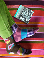 With his feet up on the striped velvet ottoman in the living room, Paolo Bagnara wears a different sock design on each foot