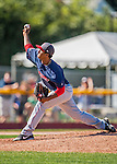 5 September 2016: Lowell Spinners pitcher Algenis Martinez on the mound against the Vermont Lake Monsters at Centennial Field in Burlington, Vermont. The Monsters defeated the Spinners 9-5 to close out their 2016 NY Penn League season. Mandatory Credit: Ed Wolfstein Photo *** RAW (NEF) Image File Available ***