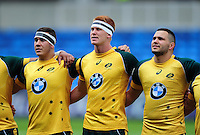 Australia U20 players line up for their national anthem. World Rugby U20 Championship 5th Place Play-Off between Australia U20 and New Zealand U20 on June 25, 2016 at the AJ Bell Stadium in Manchester, England. Photo by: Patrick Khachfe / Onside Images