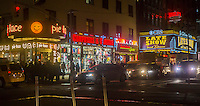 The Ed Sullivan Theater on Broadway in New York where the David Letterman show is taped as well as other businesses on the block are seen on Friday, February 22, 2013.  (© Richard B. Levine)