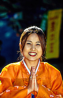 "Korean woman wearing traditional ""Hanbok"" costume, Tongdosa Temple, north of Pusan (Busan), South Korea"
