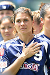 27 June 2004: Mia Hamm during the playing of the national anthem. The San Diego Spirit defeated the Carolina Courage 2-1 at the Home Depot Center in Carson, CA in Womens United Soccer Association soccer game featuring guest players from other teams.