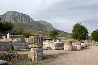 CORINTH, GREECE - APRIL 16 : A general view of the South Stoa, on April 16, 2007 in Corinth, Greece. The South Stoa, seen in the early morning light, is on the south side of the Forum. It was built in the 4th century BC but had been reconstructed before the Romans razed the city in 146 BC. Originally shops, the Romans converted the building into offices such as the council hall, or bouleuterion. Outside was a terrace with a wall on which were many sculptures.  Corinth, founded in Neolithic times, was a major Ancient Greek city.(Photo by Manuel Cohen)