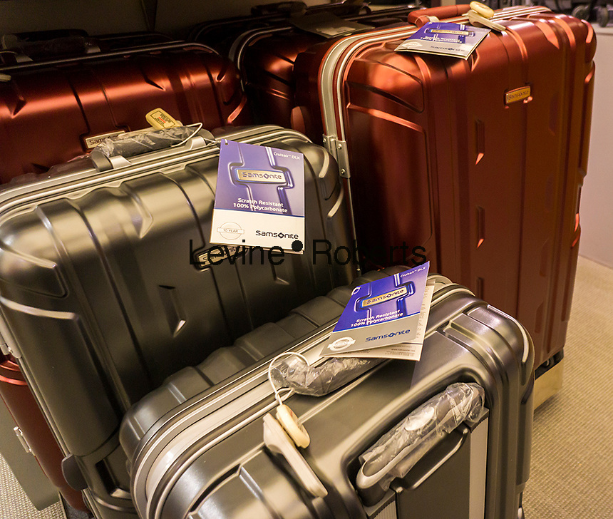 Samsonite brand luggage in Macy's in New York on Friday, March 4, 2016. Samsonite announced that it has agreed to buy competitor Tumi in a deal worth approximately $1.8 billion. The acquisition provides an entry for Samsonite into the world of expensive, high-end luggage. (© Richard B. Levine)