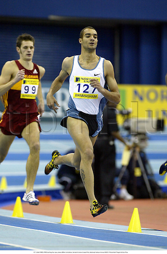 127. JOAO PIRES (POR) during the race, Mens 800m Invitation, Norwich Union Grand Prix, National Indoor Arena 030221 Photo:Neil Tingle/Action Plus...Athletics 2003.athlete man distance.run running runners runner runs.metres metre