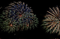 Colorful (colourful) firework explosions in the night sky