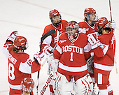 Jillian Kirchner (BU - 18), Kaleigh Fratkin (BU - 13), Kerrin Sperry (BU - 1), Holly Lorms (BU - 8) and Kasey Boucher (BU - 3) celebrate their win. - The visiting Boston University Terriers defeated the Boston College Eagles 1-0 on Sunday, November 21, 2010, at Conte Forum in Chestnut Hill, Massachusetts.