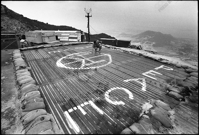 Firebase, on a mountain side in central Vietnam, where soldiers painted a giant Peace sign, South Vietnam, April 1972