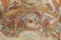 Detail of Virgin Mary in Majesty shown within a diamond and surrounded by two angels, 12th century frescoes of the vaulted ceiling of the apse of the Pre-Romanesque Chapel of Saint Martin de Fenollar (Sant Marti de Fenollar), 9th century, Maureillas Les Illas, Pyrenees Orientales, France. The Christ in Majesty within a mandorla can be seen on the ceiling of the choir. The frescoes are an outstanding piece of work, which greatly impressed modern artists, especially Pablo Picasso and Georges Braque in 1910. Picture by Manuel Cohen