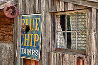 Blue Chip Stamp Sign Wooden Shack - Golden, Oregon - HDR