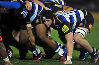 James Catlin of Bath United in action at a scrum. Remembrance Rugby match, between Bath United and UK Armed Forces on November 9, 2015 at the Recreation Ground in Bath, England. Photo by: Patrick Khachfe / Onside Images