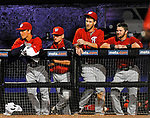 5 March 2012: Washington Nationals outfielder Bryce Harper stands in the dugout with teammates during a Spring Training game against the New York Mets at Digital Domain Park in Port St. Lucie, Florida. The Nationals defeated the Mets 3-1 in Grapefruit League play. Mandatory Credit: Ed Wolfstein Photo