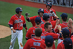 Ole Miss' Zach Kirksey (11) hits a three run home run vs. Houston at Oxford-University Stadium in Oxford, Miss. on Sunday, March 11, 2012. Ole Miss won 11-3 to sweep the three-game series.