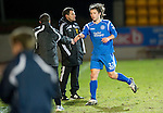 St Johnstone v Hamilton Accies....02.02.11  .Stevie May is congratulated by Derek McInnes at full time.Picture by Graeme Hart..Copyright Perthshire Picture Agency.Tel: 01738 623350  Mobile: 07990 594431