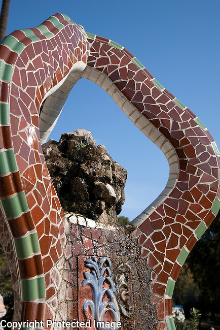 Tile Mosaic Fountain in Park Guell designed by Gaudi in Barcelona, Catalonia, Spain