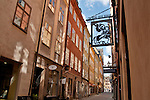 Store signs in the old town of Stockholm, Sweden