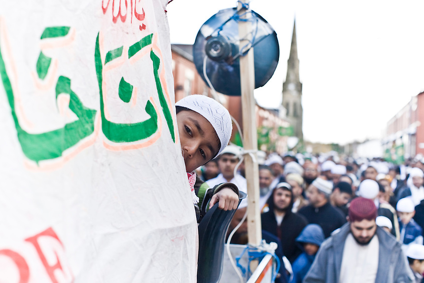 British muslims celebrate the birth of Prophet Muhammad by marching through the streets of Oldham, Greater Manchester in March 2008. The town hit national and international headlines in 2001 with the outbreak of race riots fuelled by long-term underlying racial tensions between local white and South Asian communities.