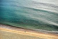 Aerial view of a man running on the beach, Long Nook Beach, Truro, Cape Cod, MA, USA