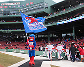 Rowdy, Doug Carr (UML - 31), Connor Hellebuyck (UML - 37), Brian Robbins (UML - 30) - The Northeastern University Huskies defeated the University of Massachusetts Lowell River Hawks 4-1 (EN) on Saturday, January 11, 2014, at Fenway Park in Boston, Massachusetts.