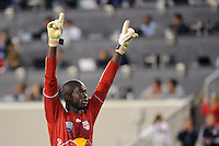 New York Red Bulls goalkeeper Bouna Coundoul (18) celebrates at the end of the match. The New York Red Bulls defeated the Kansas City Wizards 1-0 during a Major League Soccer (MLS) match at Red Bull Arena in Harrison, NJ, on October 02, 2010.