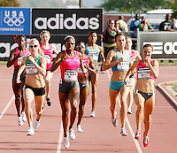 Jemma Simpson(left) 2:01.58, Hazel Clark(center) 2:01.40, Christin Wurth-Thomas(right) 2:01.58 race to the finish line in the 800m at the Adidas Track Classic 2009 on Saturday, May 16, 2009. Photo by Errol Anderson,The Sporting Image.net