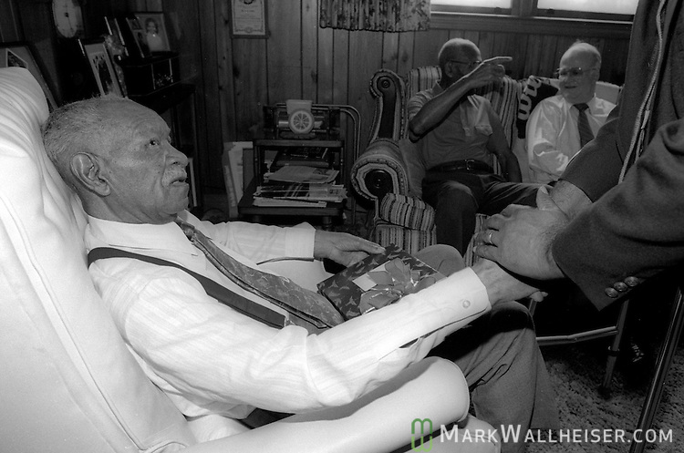 Legendary FAMU football coach Alonzo Smith (Jake) Gaither is greeted at his home in Tallahassee on his 88th birthday April 11, 1991.  Gaither compiled a 203-36-4 record, a .844 winning percentage  from 1945 till 1969.  Gaither died two years later at 90.