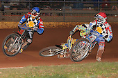 Heat 12: Shane Hazelden (blue), David Mason (red) and Dylan Black (falling) - Hackney Hawks vs Team America - Speedway Challenge Meeting at Rye House - 09/04/11 - MANDATORY CREDIT: Gavin Ellis/TGSPHOTO - Self billing applies where appropriate - Tel: 0845 094 6026