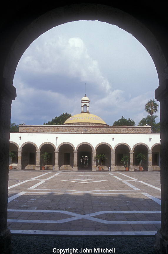 Interior courtyard of the The Instituto Cultural de Cabanas building in Guadalajara, Jalisco, Mexico