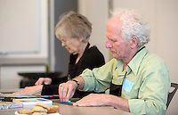 NWA Democrat-Gazette/JASON IVESTER --03/16/2015--<br /> Shelley Buonaiuto (cq) (left) and Michael Buonaiuto, both of Fayetteville work on art pieces as part of the Creative Connections program on Monday, March 16, 2015, inside Crystal Bridges Museum of American Art in Bentonville.