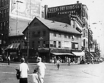 The Brown Block at the corner of East and South Main Streets, Waterbury. This is one of the last photographs taken of this Exhange Place before new construction began in summer of 1930.