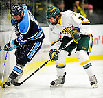 30 January 2010: University of Vermont Catamount forward Sebastian Stalberg, a Freshman from Gothenburg, Sweden, in action against the University of Maine Black Bears at Gutterson Fieldhouse in Burlington, Vermont. The Maine Black Bears and the Catamounts played to a 4-4 tie in the second game of their America East weekend series. Mandatory Credit: Ed Wolfstein Photo
