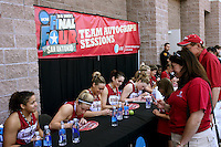 SAN ANTONIO, TX - APRIL 4:  Grace Mashore, JJ Hones, Joslyn Tinkle, Michelle Harrison, Lindy La Rocque and the team at an autograph session on April 4, 2010 at the Alamo Dome in San Antonio, Texas.