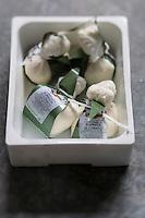 Europe/Italie/La Pouille/Corato: Burrata di Corato , Pouilles   La burrata est un fromage italien semblable à une mozzarella, avec un cœur crémeux, originaire des Pouilles.  // Europe/Italie/Puglia/Corato:  Burrata is a fresh Italian cheese, made from mozzarella and cream. - Stylisme : Valérie LHOMME