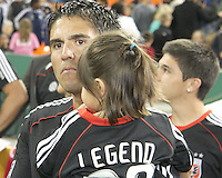 Jaime with his daughter during festivities surrounding the final appearance of Jaime Moreno in a D.C. United uniform, at RFK Stadium, in Washington D.C. on October 23, 2010. Toronto won 3-2.