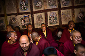 "Buddhist monks gather to witness dancers perform at the Hemis Monastery (gompa) of the Drukpa Lineage, located in Hemis, 45 kms away from Leh in Ladakh. ..His Holiness the Twelfth Gyalwang Drukpa, the head of the Drukpa Lineage (proponents of the Mahayana Buddhist tradition) ended his ""Walking On The World's Rooftop"" Pad Yatra from Manali to Hemis Monestary in Ladakh."
