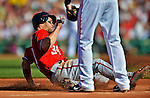 9 June 2012: Washington Nationals outfielder Bryce Harper slides safely into third on a Ryan Zimmerman single against the Boston Red Sox at Fenway Park in Boston, MA. The Nationals defeated the Red Sox 4-2 in the second game of their 3-game series. Mandatory Credit: Ed Wolfstein Photo