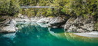Hokitika River Gorge with swingbridge, West Coast, South Westland, New Zealand, NZ