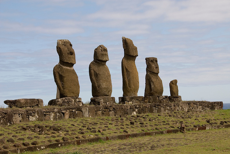 Chile, Easter Island: Statues or moai on a platform or ahu, called Ahu Tahai, near the town of Hanga Roa..Photo #: ch217-33121..Photo copyright Lee Foster www.fostertravel.com lee@fostertravel.com 510-549-2202